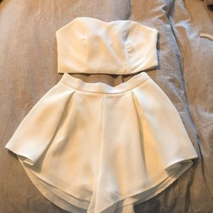Dresses & Skirts - 2 piece white top and shorts set